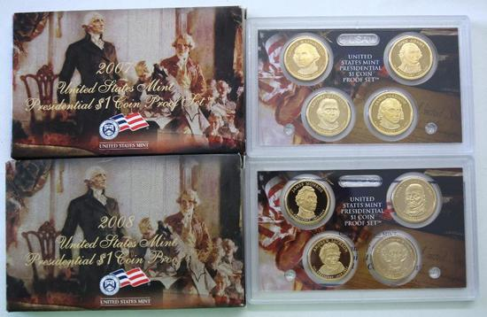 U.S. Mint 2007, 2008 Presidential One Dollar Coin Proof Sets