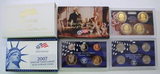 U.S. Mint 2007 Proof Set, Two Box Set with Presidential Dollars
