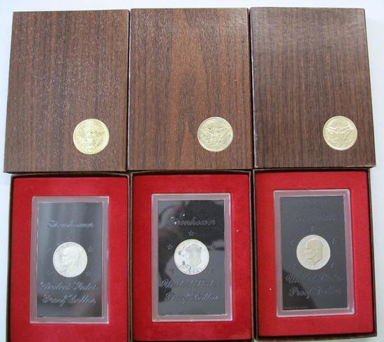 U.S. Mint 1971, 1972, 1974 Brown Box Eisenhower Silver Proof Dollars