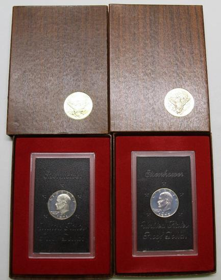 U.S. Mint 1971, 1972 Brown Box Eisenhower Silver Proof Dollars