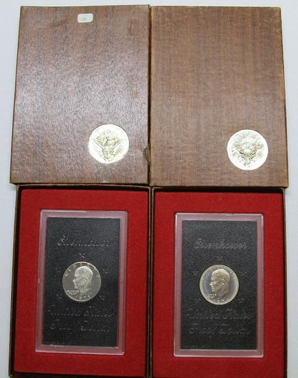 U.S. Mint 1971, 1974 Brown Box Eisenhower Silver Proof Dollars