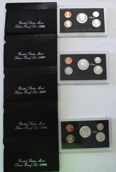 U.S. Mint 1996, (2) 1997, (2) 1998 Silver Proof Sets