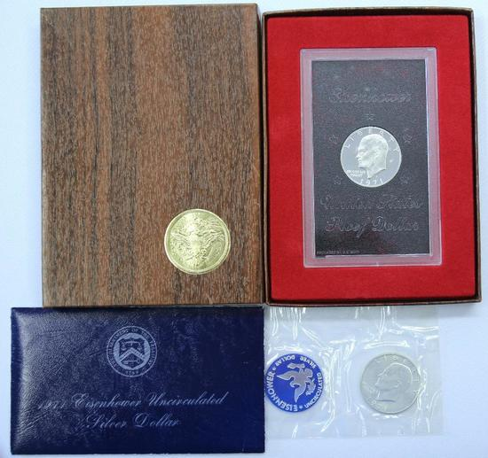 1971 Brown Box Eisenhower Proof Dollar and 1971 Blue Envelope Eisenhower Uncirculated Silver Dollar
