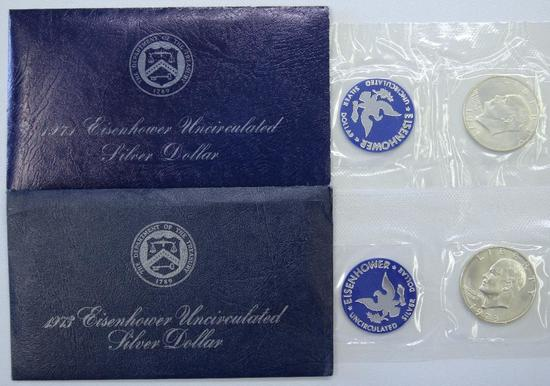 1971, 1973 Blue Envelope Eisenhower Uncirculated Silver Dollars