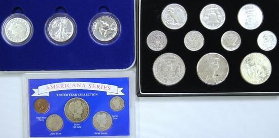 (3) U.S. Coin Sets with Silver Dollars, Silver Half Dollars, Silver Quarters and more