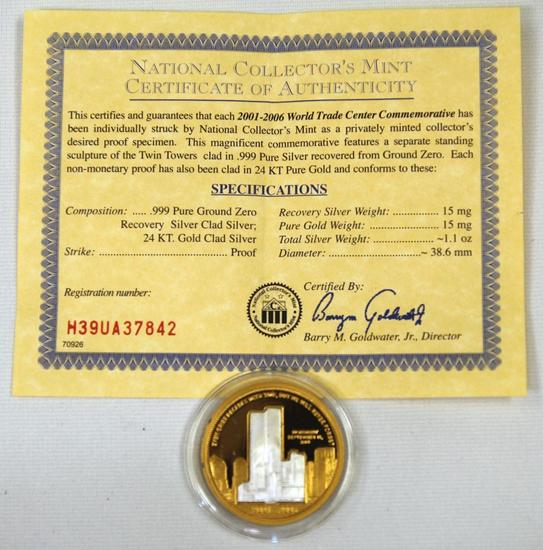 National Collectors Mint 2001-2006 World Trade Center Commemorative Coin Clad in Silver and Gold