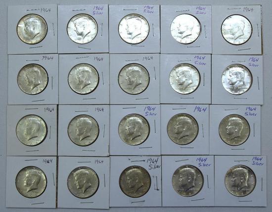 (20) 1964 90% Silver Kennedy Half Dollars, Mostly Uncirculated