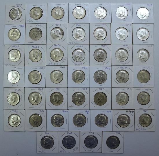 (46) 40% Silver 1965-1969 Kennedy Half Dollars