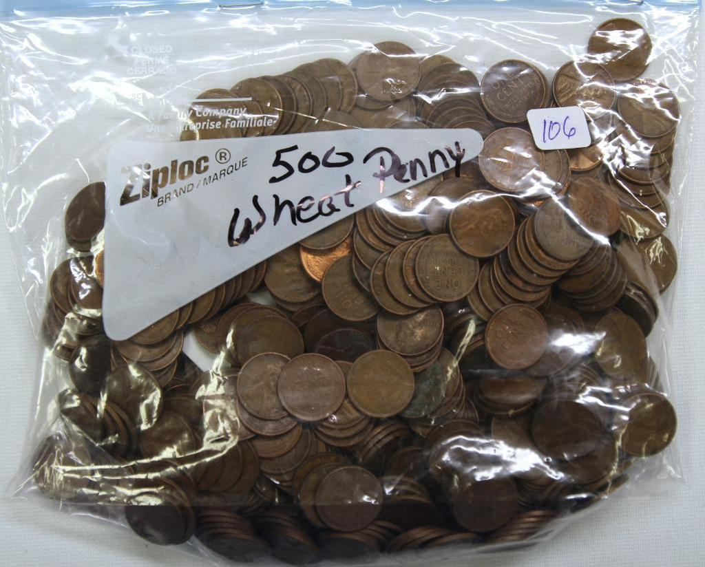 (500) Mixed Date Wheat Cents