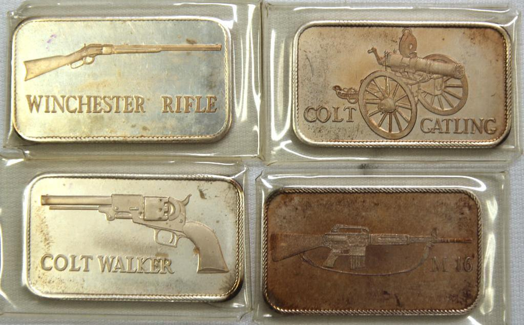 (4) 1 Troy oz. .999 Silver Bars, Colt and Winchester Firearms