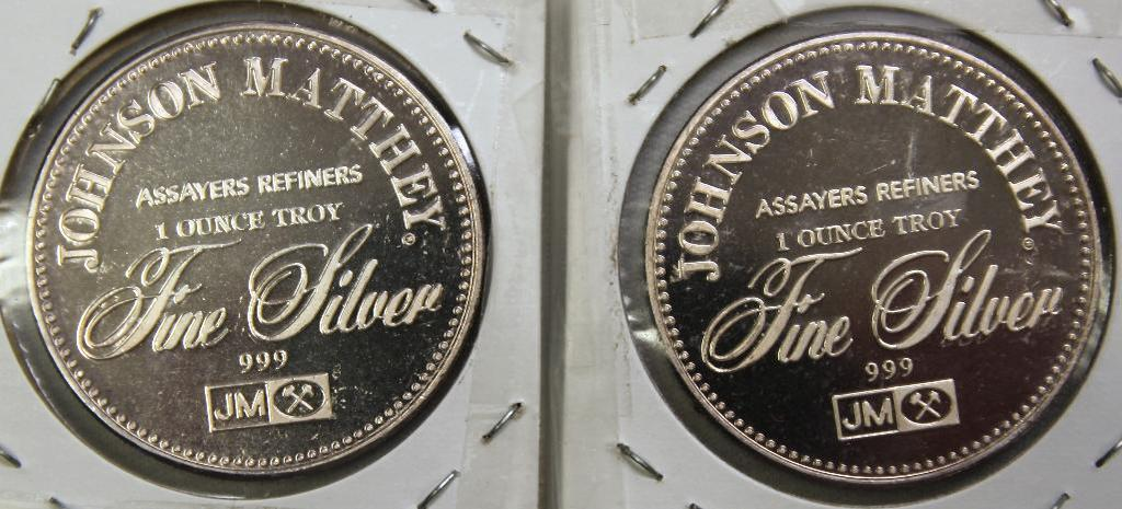 (2) 1 Troy oz. .999 Silver Johnson Matthey Silver Rounds