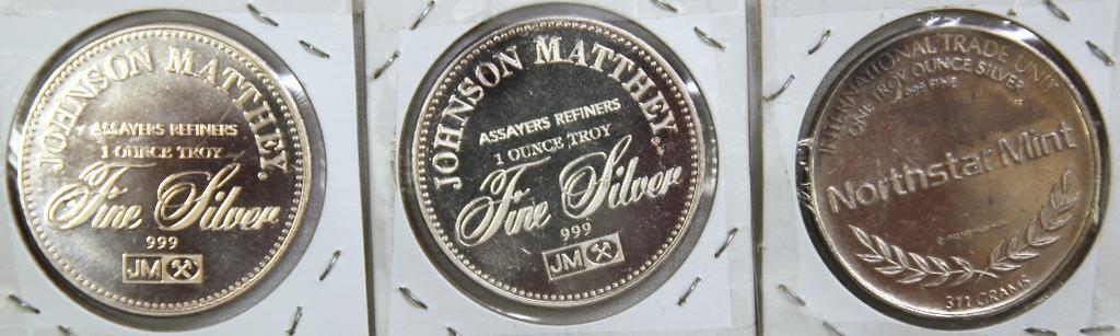 (3) 1 Troy oz. .999 Silver Rounds - (2) Johnson Matthey, (1) Northstar Mint