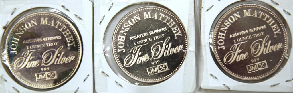 (3) Johnson Matthey 1 Troy oz. .999 Silver Rounds