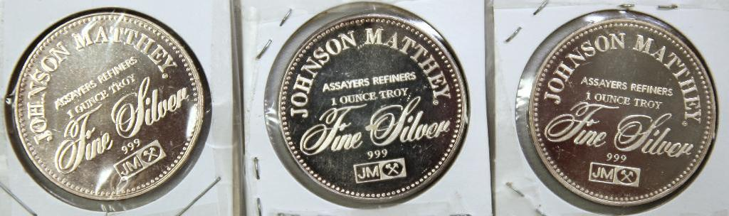 (3) Johnson Matthey 1 Troy oz. .999 Silver Rounds