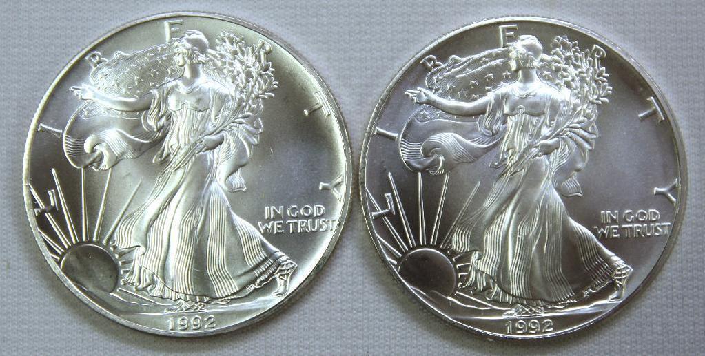 (2) 1992 Silver Eagles