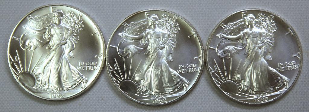 (3) 1992 Silver Eagles