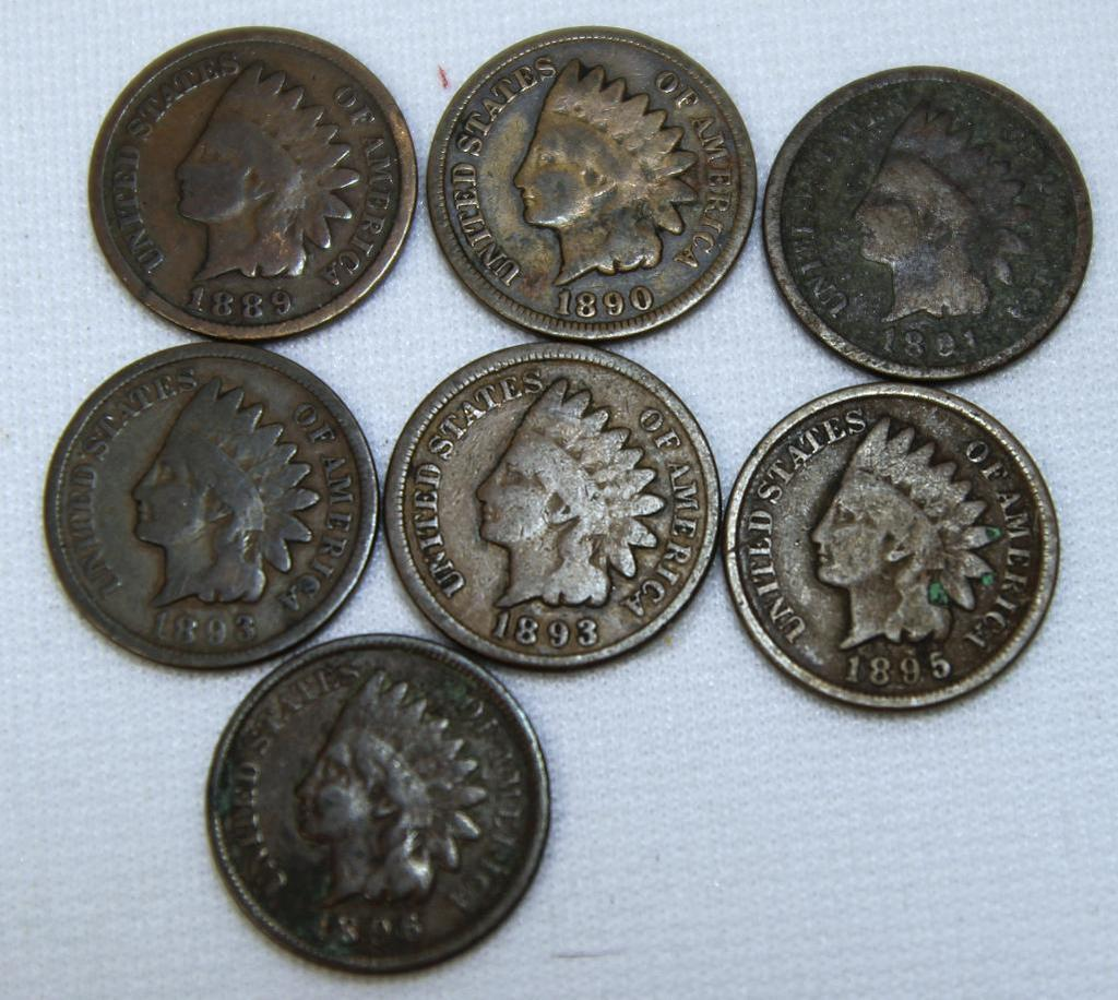 1889,1890,1891,1892,1893,1895,1896 Indian Head Cents