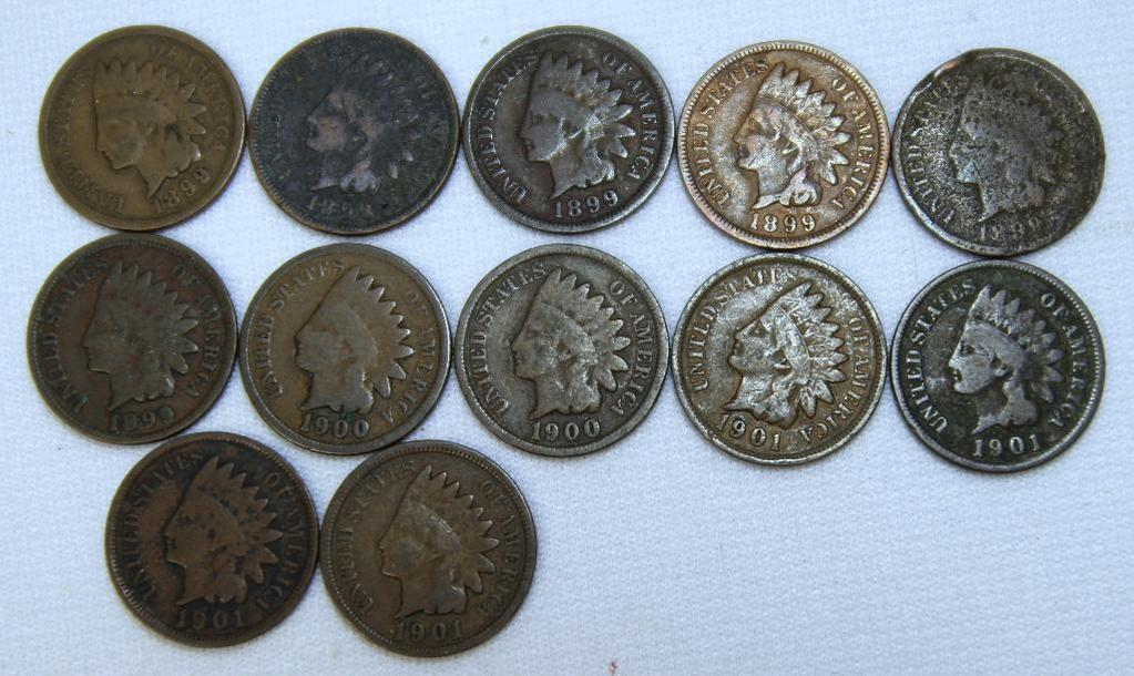 (6) 1899, (2) 1900, (3) 1901 Indian Head Cents