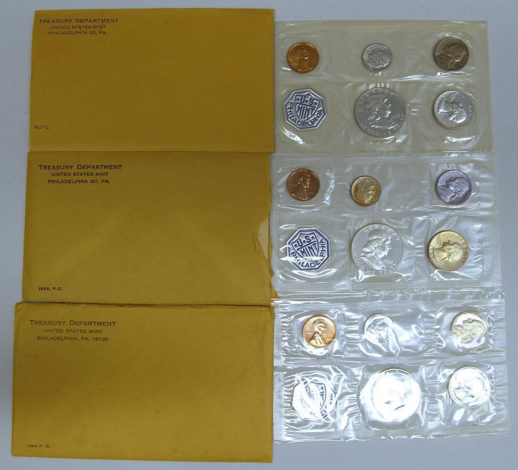 U.S. Mint 1962, 1963 and 1964 Proof Sets