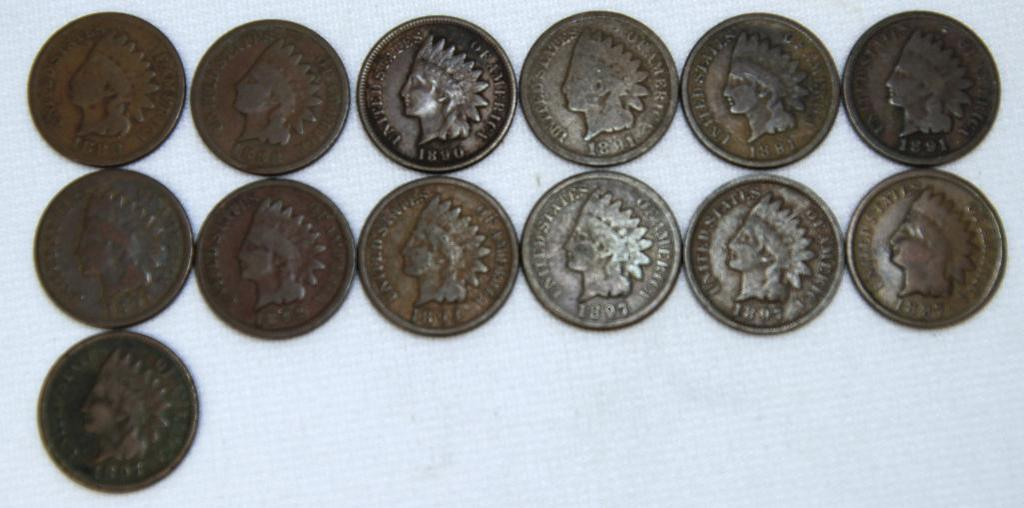 1888,1889,1890,(4)1891,1892,1893,(4)1897 Indian Head Cents