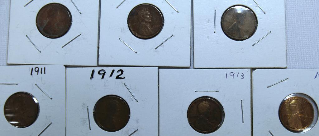1909,1909VDB,1910,1911,1912,1913,1914 Wheat Cents