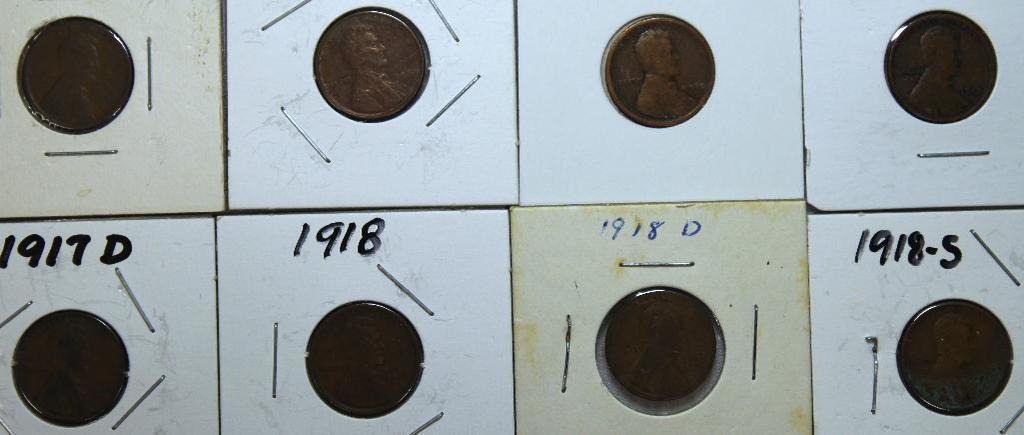 1909,1909VDB,1916,1917,1917D,1918,1918D,1918S Wheat Cents