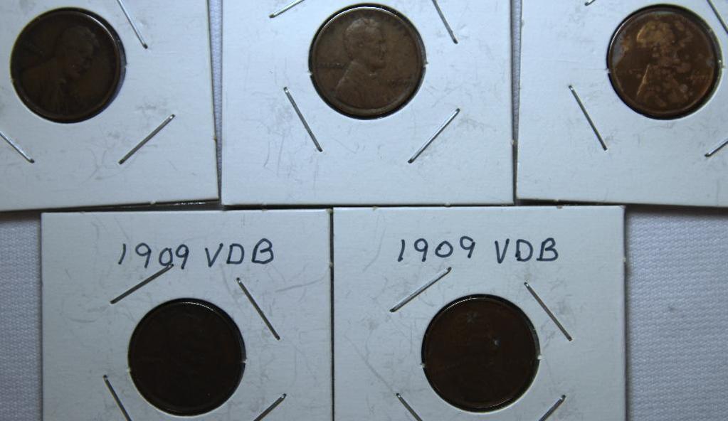 (3) 1909, (2) 1909VDB Wheat Cents
