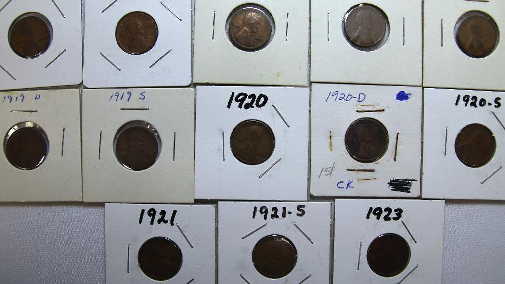 1916,1917,1918,1918D,1919,1919D,1919S,1920,1920D,1920S,1921,1921S,1923 Wheat Cents