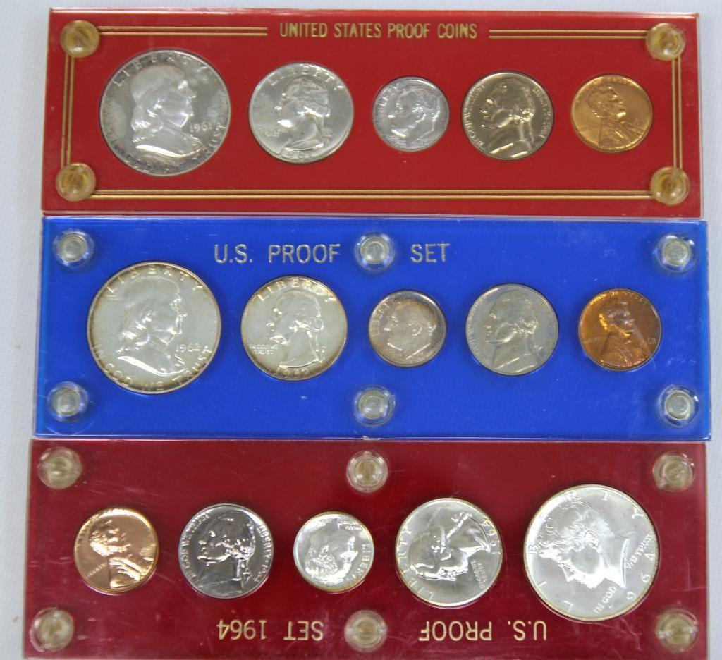 U.S. Mint 1961, 1962, 1964 Proof Sets in Plastic Holders