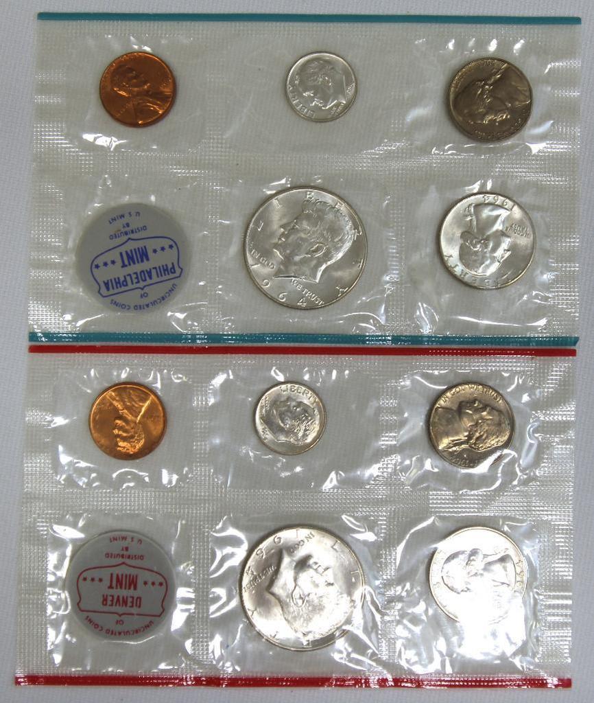 U.S. Mint 1964 P&D Mint Set in Cellophane, No Envelope