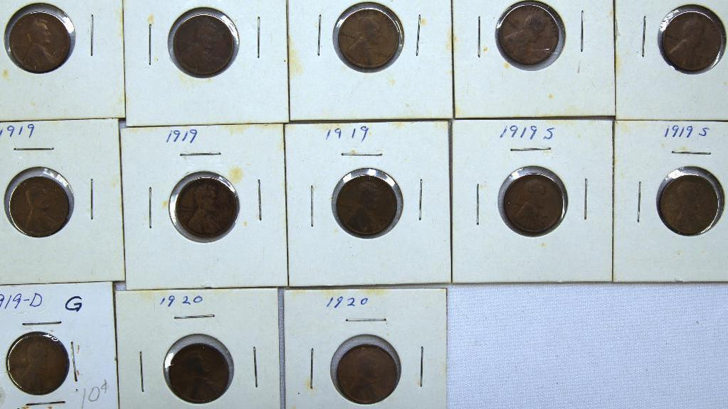 (4)1918,(4)1919,(2)1919S, 1919D, (2)1920 Wheat Cents