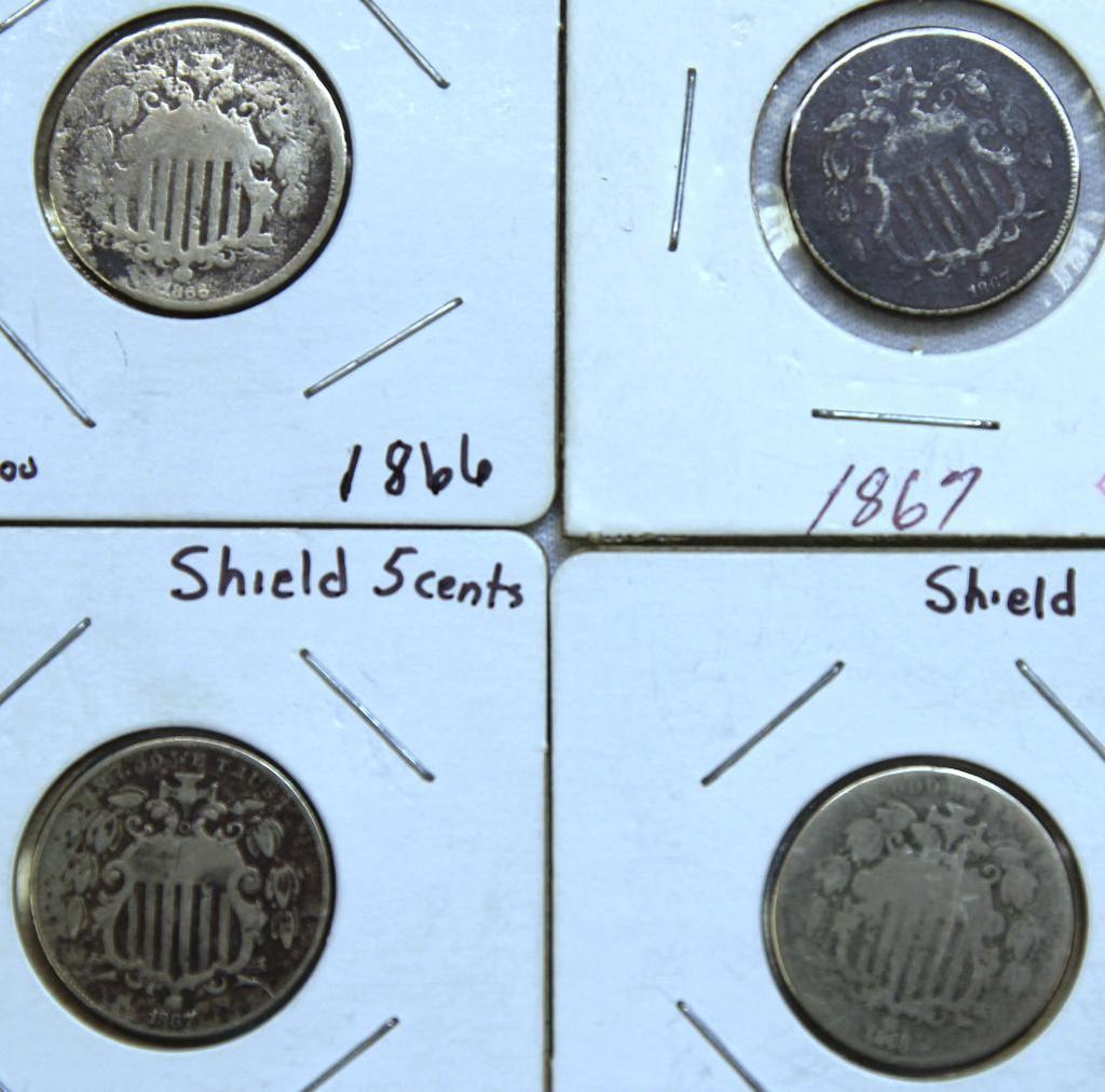 1866,(2)1867,1868 Shield Nickels