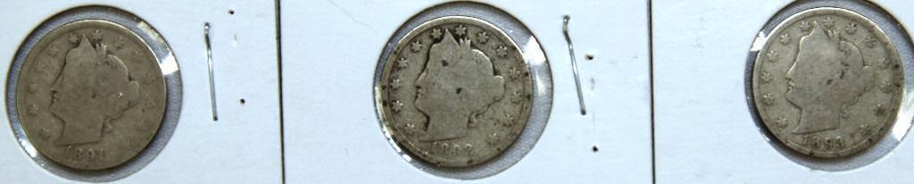 1891,1892,1893 Liberty Head Nickels