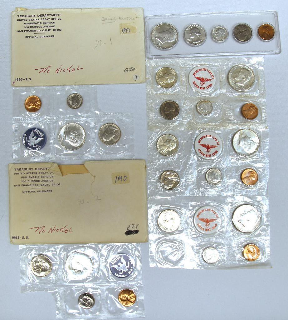 1964 U.S. Year Set in Plastic Holder, (3) 1964D U.S. Mint Sets (1) without Nickel and (2) 1965 U.S.
