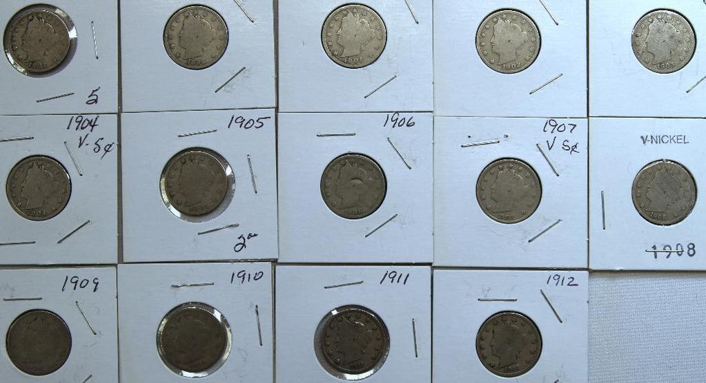 1897,1899,1901,1902,1903,1904,1905,1906,1907,1908,1909,1910,1911,1912 Liberty Head Nickels