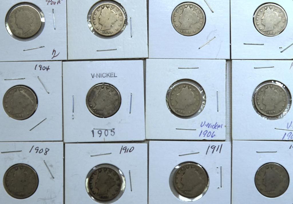 1897,1899,1901,1902,1904,1905,1906,1907,1908,1910,1911,1912 Liberty Head Nickels
