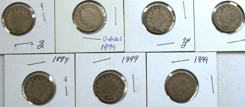 (7)1899 Liberty Head Nickels