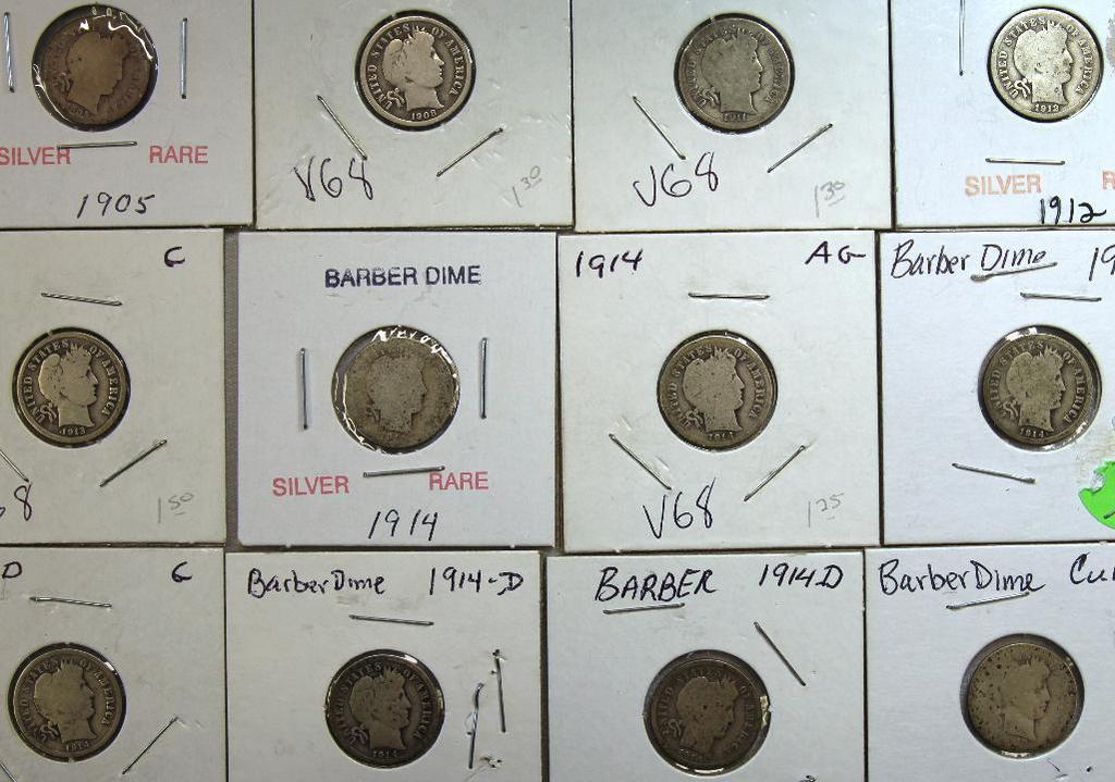 1905,1908,1911,1912,1913,(3)1914,(3)1914D Barber Dimes and Partial Date Barber Dime