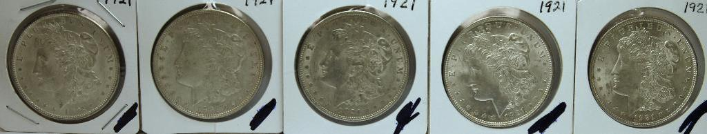 (5) 1921 Morgan Dollars