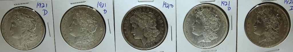 (5) 1921D Morgan Dollars