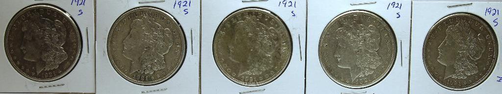 (5) 1921S Morgan Dollars