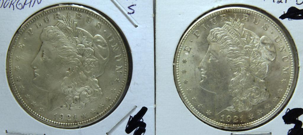1921D, 1921S Morgan Dollars