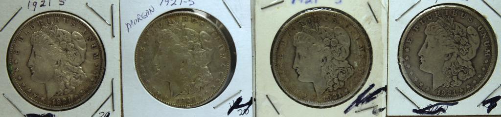 (4) 1921S Morgan Dollars