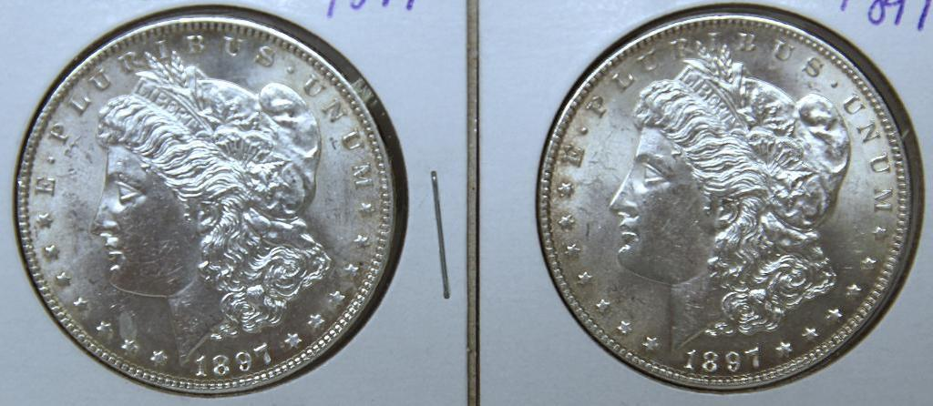 (2) 1897 Morgan Dollars, Possible Cleaning?