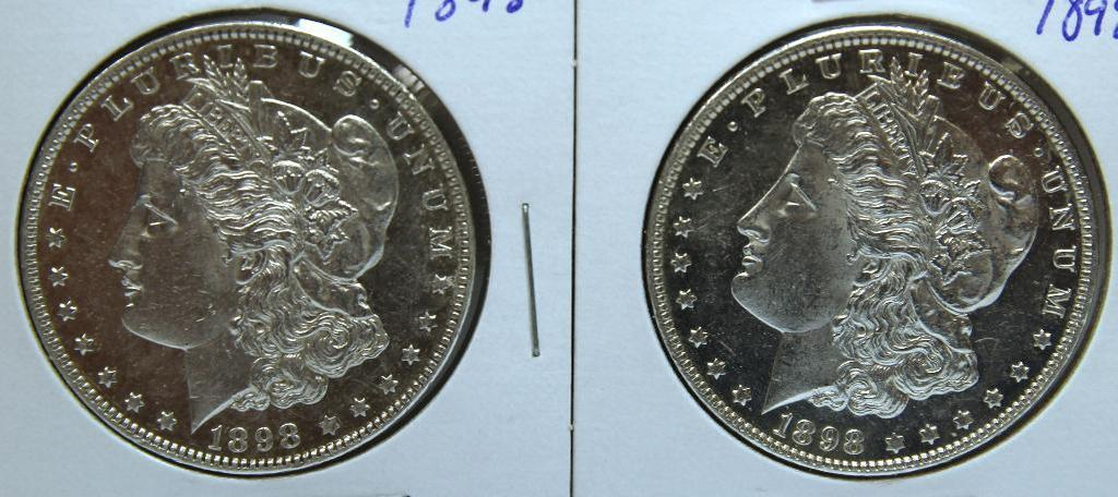 (2) 1898 Morgan Dollars, Possible Cleaning?
