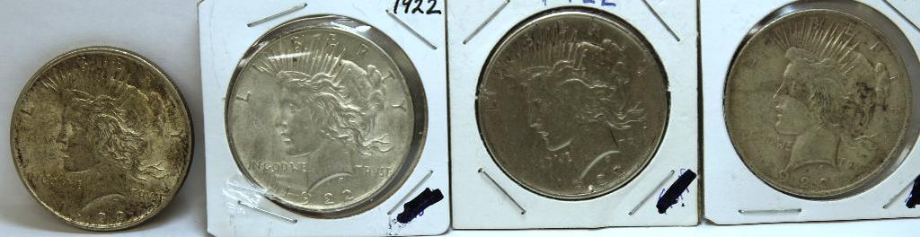 (4) 1922 Peace Dollars
