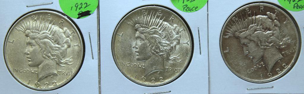 (3) 1922 Peace Dollars