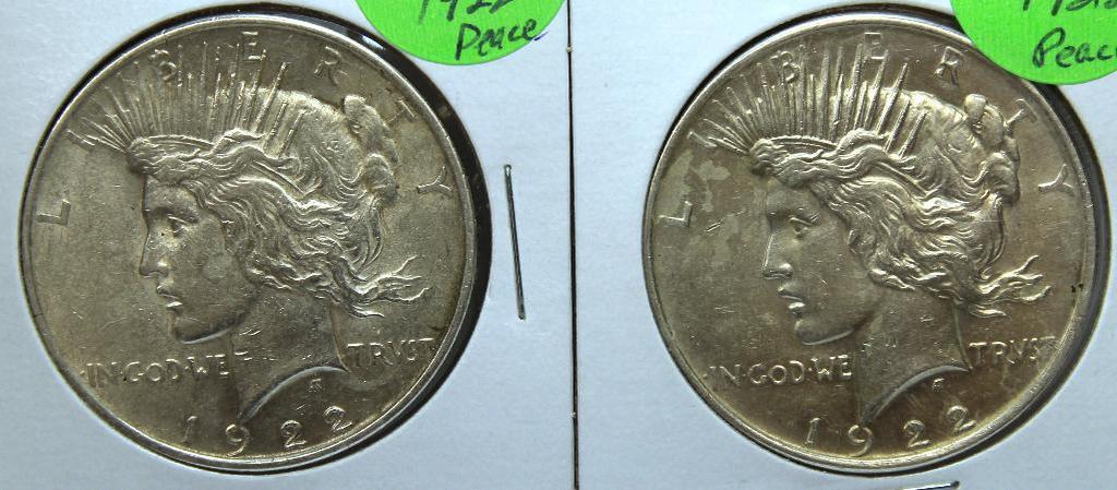(2) 1922 Peace Dollars