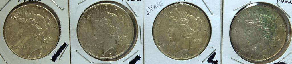 (2) 1922, (2) 1922D Peace Dollars