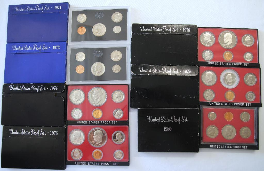U.S. Mint 1971, 1972, 1974, 1976, 1978, 1979, 1980 Proof Sets